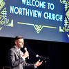John P. Cleary |  The Herald Bulletin<br /> Adam Hiatt, Anderson campus pastor of Northview Church, greets visitors during a welcome to the community reception by the Madison County Chamber and City of Anderson last Monday. The new nondenominational church is located in the former movie theater building at 1720 East 22nd Street.