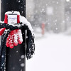 John P. Cleary |  The Herald Bulletin<br /> Hats, scarves and mittens were seen posted along Meridian Street through downtown Wednesday. Some had notes attached encouraging those in need to take them.