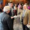 John P. Cleary |  The Herald Bulletin<br /> Adam Hiatt, center, Anderson campus pastor of Northview Church, talks with Anderson Mayor Thomas Broderick and Gerry Longenbaugh, Madison County Chamber, during a welcoming reception this past Monday. The new nondenominational church is located in the former movie theater building at 1720 East 22nd Street.