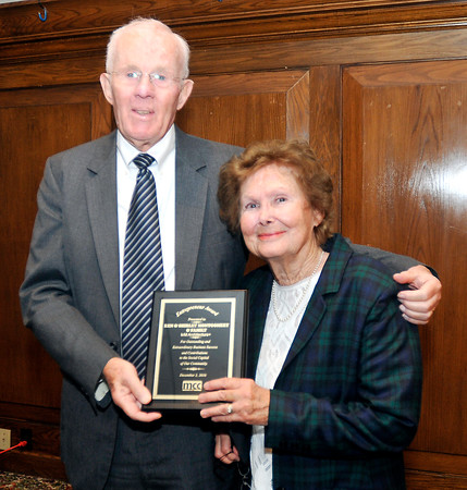 John P. Cleary |  The Herald Bulletin<br /> Ken and Shirley Montgomery, of krM Architecture+, were named winner of the 2016 Madison County Chamber Entrepreneur Award along with their family during the annual luncheon Friday.
