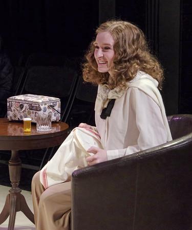 "Mark Maynard | for The Herald Bulletin<br /> Juli Biagi plays Myra Bruhl in ""Deathtrap"" at Anderson University."