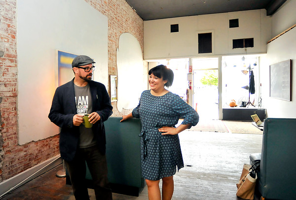 John P. Cleary | The Herald Bulletin The A Town Center is being developed in downtown Anderson by Levi Rinker and Sonia Caldwell as a cooperative art space, art gallery, and community art space at 1204 Meridian Street.
