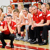 Don Knight |  The Herald Bulletin<br /> Frankton coach Stephan Hamaker coaches from the sidline as the Eagles hosted Yorktown on Wednesday.
