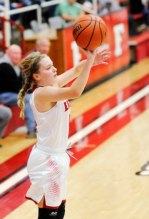 Don Knight |  The Herald Bulletin<br /> Frankton's Bailey Tucker shoots from the corner as the Eagles hosted the Yorktown Tigers on Wednesday.