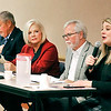 John P. Cleary |  The Herald Bulletin<br /> Madison County League of Women Voters hosted the first General Assembly Legistative preview Monday evening. Legislators present for the first Third House were L ro R: Rep. Tony Cook, Rep. Bob Cherry, Rep. Terri Austin, Sen. Tim Lanane, and speaking is Rep. Melanie Wright.