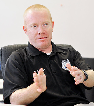John P. Cleary |  The Herald Bulletin<br /> Detective Brian Holtzleiter of the Alexandria Police Department, talks about becoming the sixth in his family to graduate from the Indiana Law Enforcement Academy.