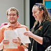 "Mark Maynard | for The Herald Bulletin<br /> Chorale members Dillon Tarr and Ashley Rouse share a light moment during preparation for Anderson University's ""Candles and Carols"" Christmas Concert."