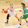 Don Knight |  The Herald Bulletin<br /> Frankton's Aleyah Rastetter looks to drive around Yorktown's Carley Culberson on Wednesday.