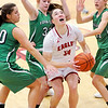 Don Knight |  The Herald Bulletin<br /> Frankton's Destyne Knight looks up to shoot from the low post as the Yorktown defense collapses down around her on Wednesday.
