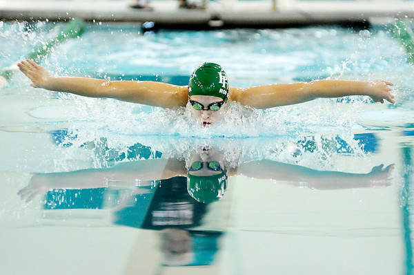 Don Knight |  The Herald Bulletin<br /> Pendleton Heights' Emma Robison competes in the 100 butterfly as the Arabians hosted Greenfield Central on Thursday.