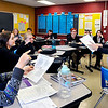 John P. Cleary |  The Herald Bulletin<br /> English teacher Cristi Burman quizzes  her students in her English 11 Honors class at Madison-Grant High School this past week.