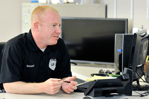 John P. Cleary |  The Herald Bulletin<br /> Six-year veteran of the Alexandria Police Department, Brian Holtzleiter is the sole detective on the department.
