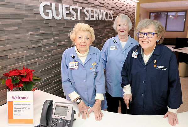 Don Knight | The Herald Bulletin<br /> Long time volunteers at Community Hospital from left, Patty Waddell, Donna Jones and Retta Stanson.