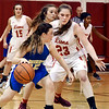 John P. Cleary | The Herald Bulletin<br /> Liberty Christian's Mady Rees puts the pressure on Jenna Lis of Burris as she tries to cutoff her driving lane.