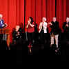 Don Knight | The Herald Bulletin<br /> Jay and Nancy Ricker receive a standing ovation after announcing their $500,000 donation to the Paramount that will pay off the theater's mortgage  on Thursday.