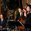 Don Knight | The Herald Bulletin<br /> Lana Ranahan performs with father and son musicians Russ and Trey Campbell during the Christmas Tea at Gaither Studios on Saturday.