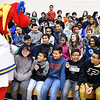 John P. Cleary | The Herald Bulletin<br /> Freddy Fever gets the attention of Anderson elementary School students during the Jakks Pacific - Pacers toy giveaway program Thursday.