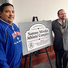 Elwood Mayor Todd Jones, right, and the Elwood City Council honor  volunteer Sammy Mireles by renaming P Street athletic facilities for him.