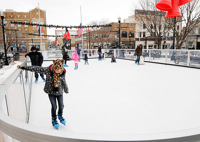 Don Knight   The Herald Bulletin The skating rink at Dickmann Town Center will be open every day until Jan. 19 except for Christmas Day and New Year's Day. Skates are available as part of the free event.