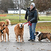 John P. Cleary | The Herald Bulletin<br /> Despite the cold damp weather Marla Ozenbaugh gets out to walk her three dogs, Russell, Brady, and Rudy around Callaway Park Monday afternoon.