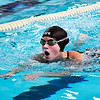 John P. Cleary | The Herald Bulletin<br /> Elwood's Sam Pierce comes up for air as she swims the breast stroke portion of the 200 individual medley against Liberty Christian Monday evening. Pierce won the event.