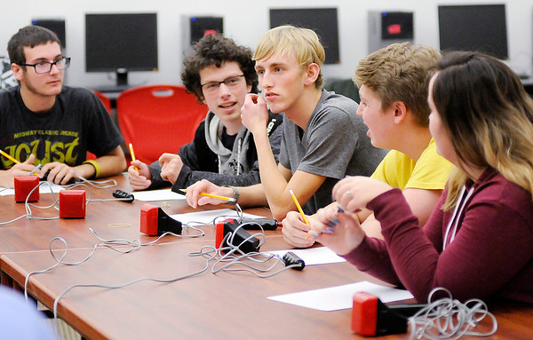 Don Knight | The Herald Bulletin<br /> Frankton's Academic Team answers a series of questions as they visited Anderson on Tuesday. From left are Micah Brooks, James Huff, Addison Lawrence, Brad Riser and Jenna Lee. Anderson won the meet 56 - 34.