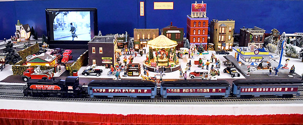 John P. Cleary | The Herald Bulletin<br /> Larry Davenport's train display at the Paramount Theatre as part of the Festival of the Trees.