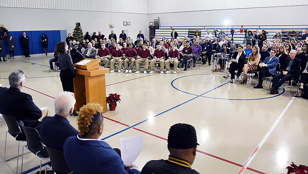 John P. Cleary | The Herald Bulletin<br /> Beverly Parenti, executive director The Last Mile, addresses those gathered at the Pendleton Juvenile Correctional Facility Tuesday during the Google.org announcement of a $2 million grant to The Last Mile to support the launch of Indiana's first coding program for incarcerated juveniles at the Pendleton Facility.<br /> <br /> <br /> <br /> Google.org announced a $2 million grant to The Last Mile to support the launch of Indiana's first coding program for incarcerated juveniles at the Pendleton Juvenile Correctional Facility.