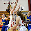 John P. Cleary | The Herald Bulletin<br /> Liberty Christian's Elena Tufts goes up for a shot as she drives the lane.