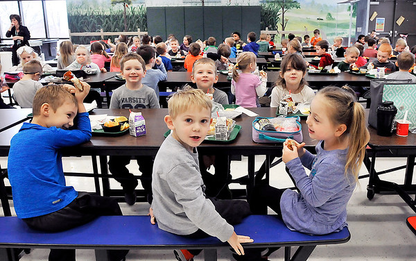 John P. Cleary   The Herald Bulletin<br /> All five East Elementary School kindergarten classes have lunch together.