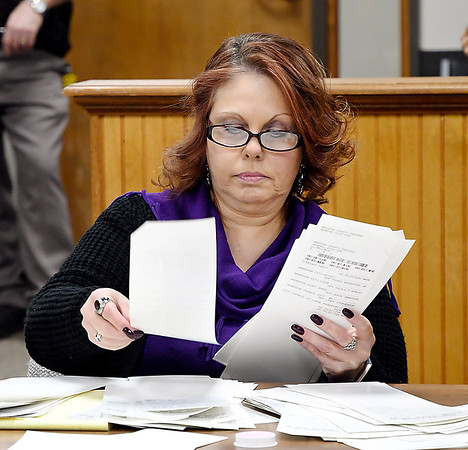 Recount Commission member Tonia Wainscott hand counts the paper ballots from Anderson City Council District 5 during the District 5 recount Wednesday.