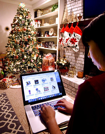 Photo illustration for holiday online shopping.