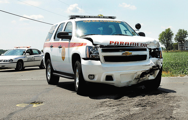 THB FILE PHOTO: An PI accident at 1000N & 100W Tuesday afternoon involved a Alexandria paramedic unit that was on a run to another accident when the collision occurred.