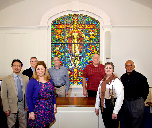 AU faculty members of the School of Theology will preach about different elements of the stained glass window that is in Miller Chapel.  The sermon series will involve ten faculty members.  Shown with the window are L to R: Dr. Gilbert Lozano,  Dr. David Sebastian,  Dr. Kimberly Majeski,  Dr. Gregory Robertson,  Dr. John Aukerman,  Dr. MaryAnn Hawkins,  and Dr. James Lewis.