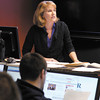 Jill Merle teaches her business finance class in the STAR Trading Room class room in the Falls School of Business at Anderson University.