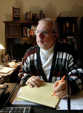 Dennis Coppock in his study.