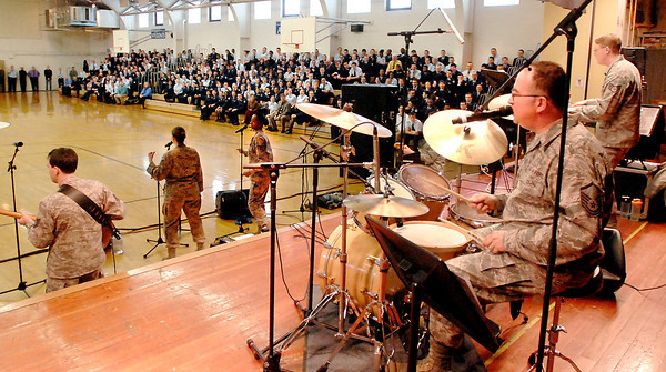The Air Force Band SYSTEMS GO performed at Anderson Preparatory Academy Tuesday afternoon entertaining the students and faculty with a variety of popular songs.  The band, made up of active military members, is based out of Wright Patterson Air Force Base and year-round performs at  goodwill appearances and military functions.  Next month the band will deploy to Afghanistan to entertain the troops.