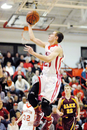 Frankton junior Aaron Korn goes high off the floor to put two points on the scoreboard for the Eagles.