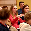 Area resident Sarah Contos asks a question of the Lapel Town Council during a special meeting for input on Anderson's proposed annexation.