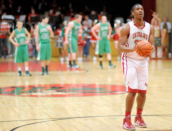 Anderson's Trey Boyd shoots a pair of free throws after New Castle coach Steve Bennett was called for a technical foul on Friday.