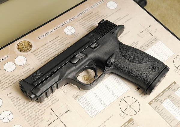 A Smith & Wesson M&P 9mm with a 17 round magazine.