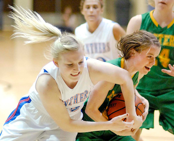 Elwood senior Erica Harpel fights for the ball beneath the Lady Panthers basket.