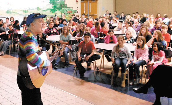Author Phil Hoose gave a presentation on his book Moonbird: A Year on the Wind with the Great Survivor B95 to Frankton Elementary students Thursday.
