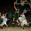 With 19 seconds left Pendleton sophomore Tyler Hubble rebounds a missed New Castle shot. Pendleton Heights High School defeats New Castle at the fieldhouse 61 to 60 Tuesday, February 12, 2013. Photo by Richard Sitler