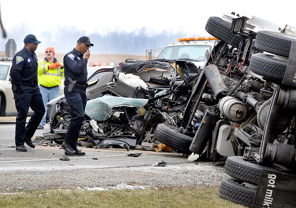 The scene of a fatal head-on accident Tuesday morning on State Road 37 near County Road 900 North.  The crash involved a Volkswagon passenger car and a milk delivery box truck.