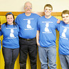 Don Knight / The Herald Bulletin<br /> Daleville students honored retiring teacher David Parkison for his 40 year of service during homecoming. From left are Shraya Patel, Kylie Powell, David Parkison, Ben Wright and Donovan Archer.