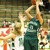 Chris Martin for THB/ Pendleton Height's Sam Hammel shoots a jump shot over New Castle defender Shelby Alderson