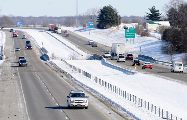 Don Knight / The Herald Bulletin<br /> Traffic travels on Interstate 69 on Friday. INDOT plans to add a third lane to I-69 between Exit 205 and 219.
