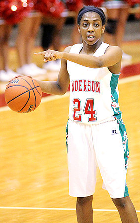 Chris Martin for THB/ Anderson Forward Dabriona Williams directs traffic Wednesday in a Sectional win against Richmond.