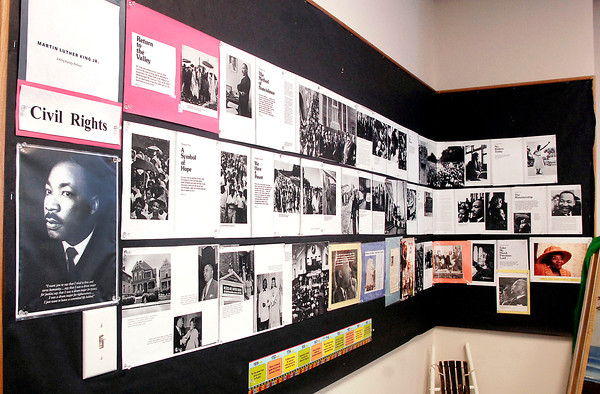 THB photo/John P. Cleary<br /> Martin Luther King Jr's fight for equality stretch across the walls in Madison County Historical Society's Black History Month exhibit.